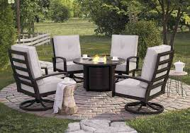 1 round fire pit table costco castle island dark brown
