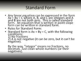 4 standard form any linear equation