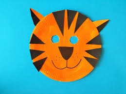How To Make Face Mask From Chart Paper How To Make A Tiger Mask Paper Plate Masks Tiger Mask