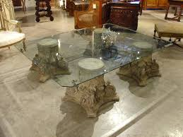 beveled glass top coffee table on cast stone corinthian capital throughout base design 10