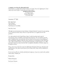Cover Letter Sample Financial Analyst Cover Letter Sample Entry