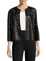 escada la fleur laser cut leather jacket black women s jackets