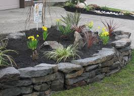 rock walls landscaping   Stone Walls   Dry Stack Stone Wall Designs   South  Surrey Landscape
