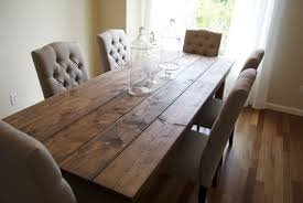 Natural Wood Dining Tables Clean Farmhouse Style Dining Table For Six Users With Transparent