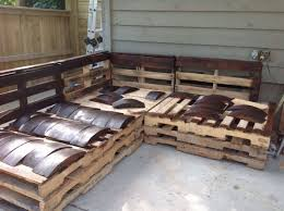 outdoor pallet wood. Furniture:Rustic Wood L Shape Pallet Outdoor Furniture Design For Garden With Grey Painted W