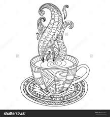 Coffee Cup Coloring Pages Meningrey