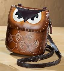 4773631508 brown leather owl purse med