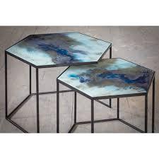 cobalt mist organic hexagon side table set