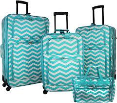 Light Luggage Sets World Traveler 4 Piece Expandable Spinner Luggage Set Light Blue White Chevron