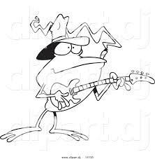 Small Picture Vector of Cartoon Bass Guitarist Frog Coloring Page Outline by