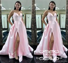 Light Pink And Light Blue Prom Dresses Newest Light Pink Satin Prom Dresses Sexy Side Split Spaghetti Strap For Women 2018 A Line Formal Evening Dress Pageant Gown Cheap Blue Prom Dresses