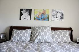 i am still in search of real art instead of portraits of my children for over the bed but for now the portraits remain i took the photos on the left and