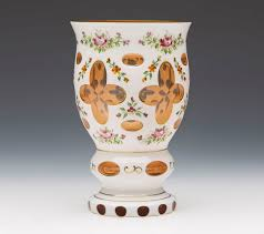 antique vintage bohemian overlay orange glass vase 20th c