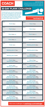 21 Day Plank Challenge Chart Do The 30 Day Plank Challenge Coach