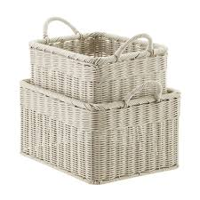 Stone Woven Plastic Storage Bins with Handles ...