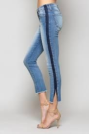 Flying Monkey Mid Rise Tuxedo Stripe Skinny Jeans With Side Slit