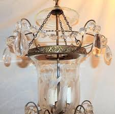 wonderful etched glass leaf bronze crystal regency neoclassical bell jar lantern in good condition for long neck melon bell jar lantern
