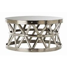 fashion n you hammered coffee table allmodern living room round drum table