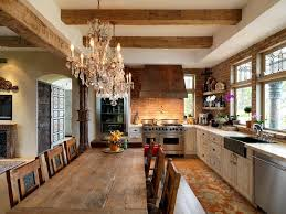 luxurious traditional home with astonishing nature surrounding view of rustic victorian kitchen with crystal chandelier
