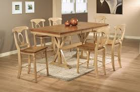 Quails Run Counter Height Trestle Table Dining Room Set in Almond