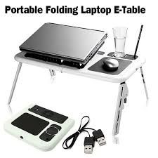 adjule folding laptop table e table with tray cooling fans stand home portable laptop desk