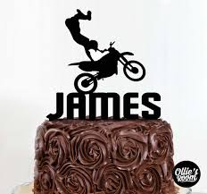Personalised Motorbike Birthday Name Cake Topper