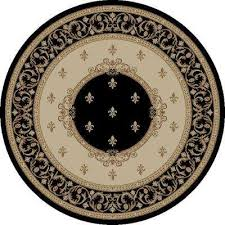 jewel fleur de lysmedallion black 5 ft round area rug