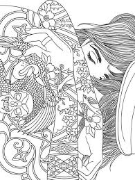 Trippy Coloring Pages Girl With Tattoo Coloring Pages Adult