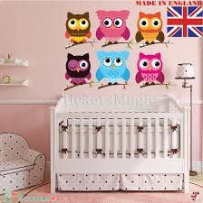 details about owl wall stickers uk for kids baby nursery childrens bedroom art vinyl decor
