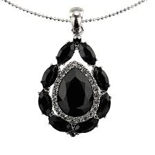 tear drop swarovskiblack crystal pendant necklace rhodium plated necklace only