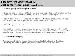 Customer Service Team Leader Cover Letter Call Center Team Leader Cover Letter
