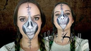how to half stapled skull day of the dead makeup tutorial you