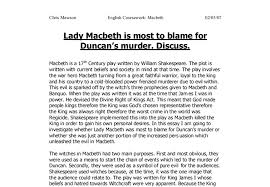 lady macbeth is most to blame for duncan s murder discuss gcse  document image preview