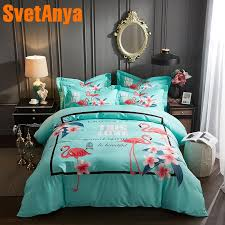 svetanya pima cotton bedding set flamingo printing bedsheet pillowcases and comforter cover sets queen king double size bedding linen duvet cover full from