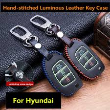 luminous leather car key fob cover case set keychain for hyundai tucson creta ix25 i10 i20