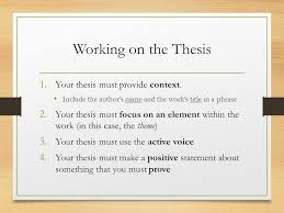 macbeth essay it s not that scary ppt  working on the thesis your thesis must provide context