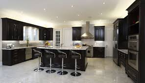 small kitchen gray cabinets with tile floor and white counters black countertops full traditional dark brown
