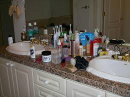 un clutter the bathroom counter tops