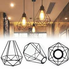 details about geometric diamond metal hanging ceiling light lampshade pendant fixture shade