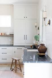 honed soapstone countertops on white cabinets