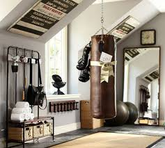 Garage Man Cave With Home Gym