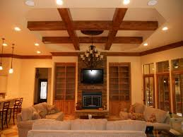 Decorations:Stunning Wooden Beam Ceiling Design For Living Room Feat Black  Iron Hanging Lamp How