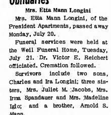 Obituary for Etta Mann Longini - Newspapers.com