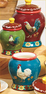 Rooster Kitchen Decorations Set Of 3 Rooster Canisters Country Kitchen Accent Home Decor For