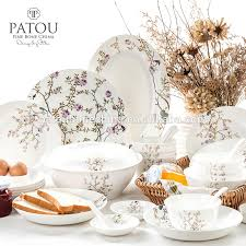 Patterned Dinnerware New Decal Patterned Bone China Dinner Set Dinnerware Sets With High