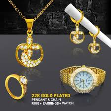 22k gold plated crystal hanging stones pendant set ring earring watch sr669b