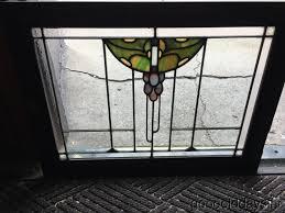 antique prairie style g motif stained glass oak cabinet door window