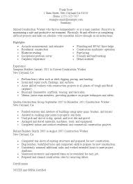 Construction Worker Resume Examples And Samples Laborer Resume
