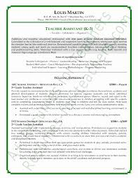Sample Resume For Teaching Assistant