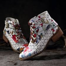 designer socofy socofy ink painting flower pattern cow leather splicing buckle zipper lace up stitching ankle boots newchic